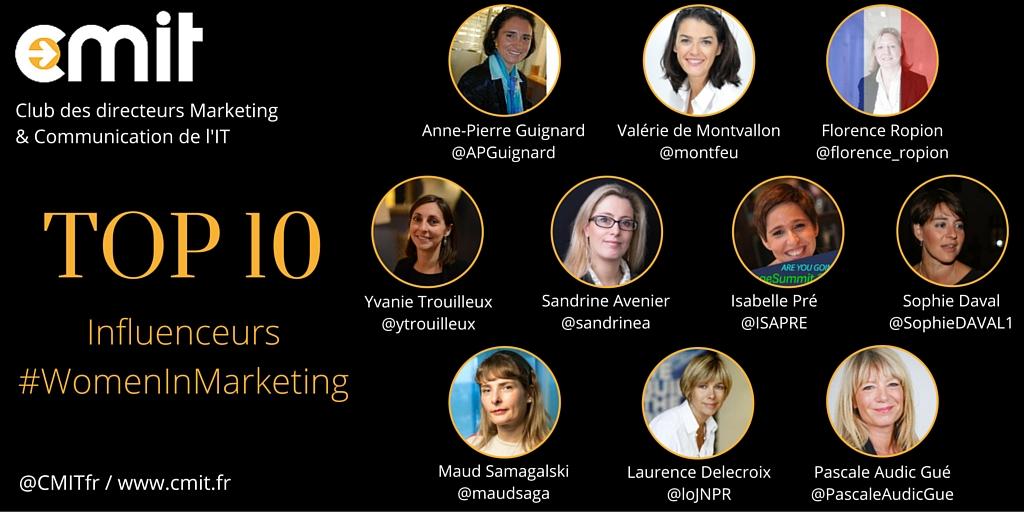 Top 10 Influenceurs #WomenInMarketing by CMIT