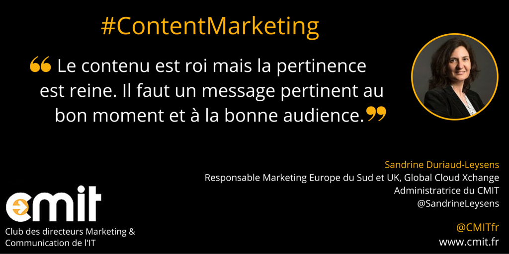 Citation Content Marketing CMIT Sandrine Duriaud-Leysens